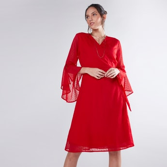 Textured Wrap Dress with Flared Sleeves and Tie Ups