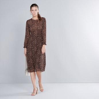 Animal Printed Midi Dress with Long Sleeves and Smocked Waist
