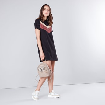 Printed Round Neck Mini Shift Dress with Short Sleeves