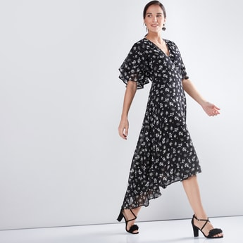 Printed Wrap Dress with Flared Sleeves and Asymmetric Hem