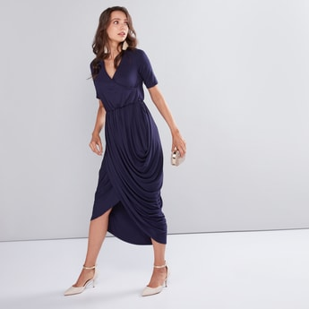 Asymmetric Cowl Dress with V-Neck and Short Sleeves