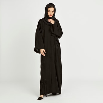 Solid Full Length Abaya with Bead Embellishments