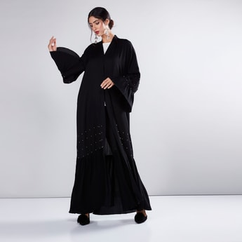Pleated Abaya with Flared Sleeves and Stud Detail