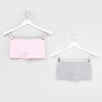 Solid Boyshorts with Elasticated Waistband - Set of 2