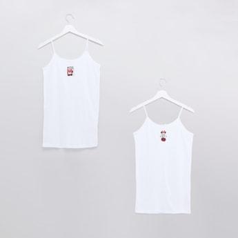 قميص كامي بحمّالات رفيعة وطبعات ميني ماوس - طقم من قطعتين