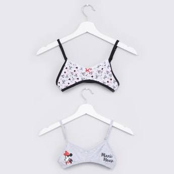 Minnie Mouse Printed Bra with Hook and Eye Closure - Set of 2