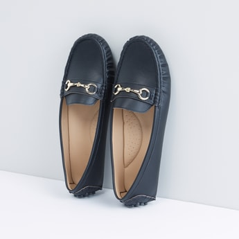 Metallic Detail Slip-On Moccasins