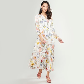 Floral Printed Maxi Layered Dress with Long Sleeves