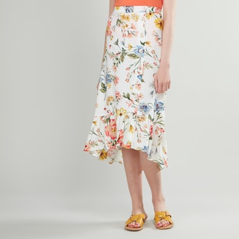 Floral Printed Midi Skirt with Elasticised Waistband