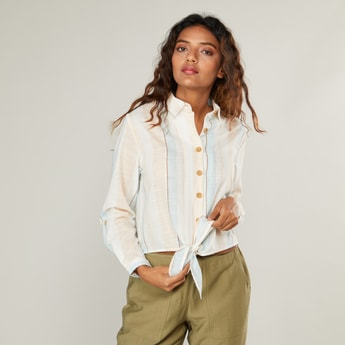 Striped Shirt with Roll-Up Tab Sleeves and Front Knot Detail