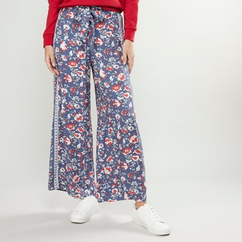 Floral Print Palazzos with Paperbag Waist