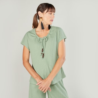 Ribbed Scoop Neck Top with Cap Sleeves and Drawstring Detail