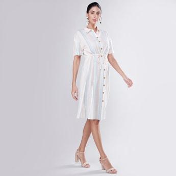 Striped Midi Shirt Dress with Tie Ups