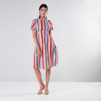 Striped A-Line Dress with Cutout Detail