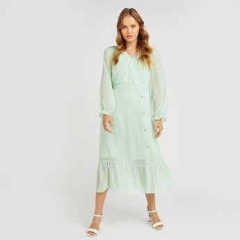 Textured Midi A-line Wrap Dress with Bishop Sleeves and Button Detail