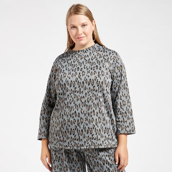 Animal Printed T-shirt with High Neck and Long Sleeves