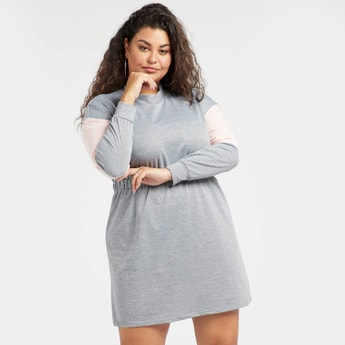Colour Block Midi A-line Sweater Dress with Long Sleeves