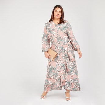 Printed Maxi A-line Dress with V-neck and Long Sleeves