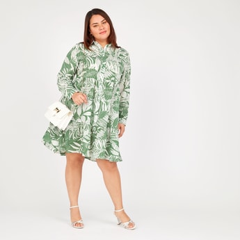 Printed Midi A-line Shirt Dress with Spread Collar and Long Sleeves