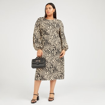 Zebra Print A-line Midi Dress with Long Puff Sleeves