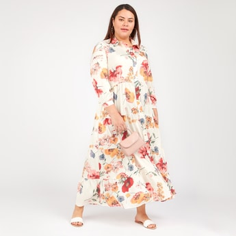 Floral Print Maxi A-line Dress with Spread Collar and Long Sleeves