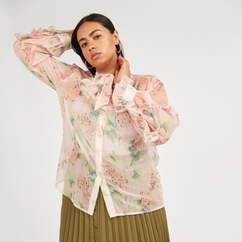 Floral Print Top with Pussy Bow and Long Sleeves
