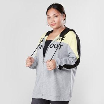 Colourblock Sweatshirt with Drawstring Hood and Long Sleeves
