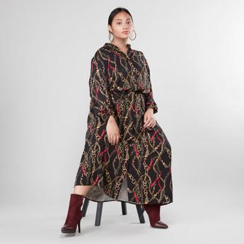 Chain Print Maxi Shirt Dress with Long Sleeves