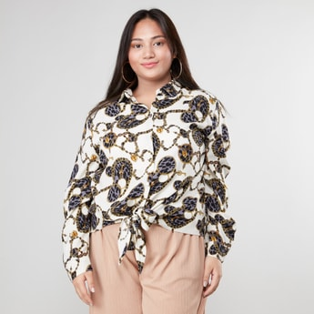 Printed Knot Front Shirt with Long Sleeves