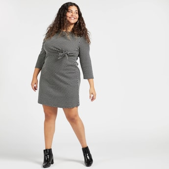 Textured Midi Shift Dress with Long Sleeves