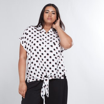 Polka Dot Printed Shirt with Front Knot Detail and Short Sleeves