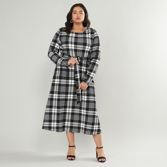 Gingham Checked Knit Round Neck A-line Dress