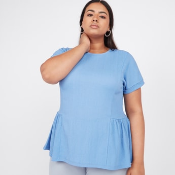 Textured Frill Detail Top with Round Neck and Short Sleeves