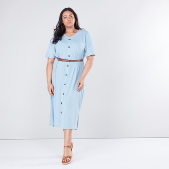 Ribbed Button Down Midi Dress with Short Sleeves