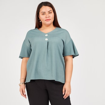 Textured Top with V-neck and Short Sleeves