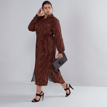Printed Maxi Shirt Dress with Long Sleeves and Tie Ups