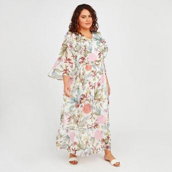 فستان طويل ايه لاين بأكمام واسعة وأربطة وطبعات أزهار