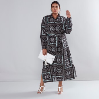 Printed Maxi Shirt Dress with Long Sleeves and Front Knot Styling