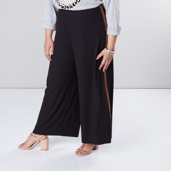 Textured Palazzo Pants in Regular Fit with Side Tape Detail