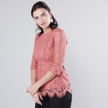 Lace Detailed Peplum Top with Round Neck and 3/4 Sleeves