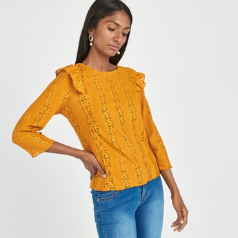 Embroidered Boxy Top with Round Neck and Ruffles