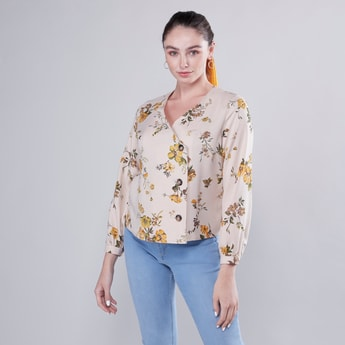 Updated Wrap Blouse with Button