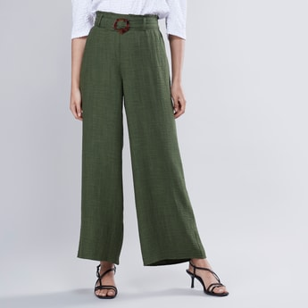 Plain Palazzo Pants with Paper Bag Waist and Belt