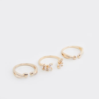 Set of 3 - Studded Metallic Finger Rings