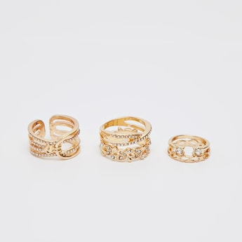 Set of 5 - Embellished Finger Rings