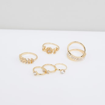 Studded Finger Ring - Set of 6