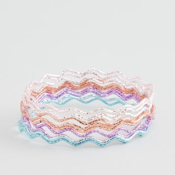 Set of 9 - Glitter Detail Zig Zig Bangles
