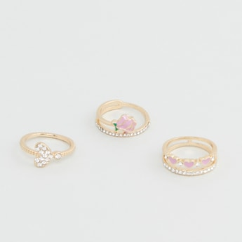Set of 3 - Embellished Finger Rings