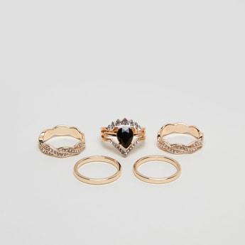 Set of 5 - Stud Detail Finger Rings