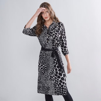 Printed Tunic with 3/4  Sleeves and Tie Ups